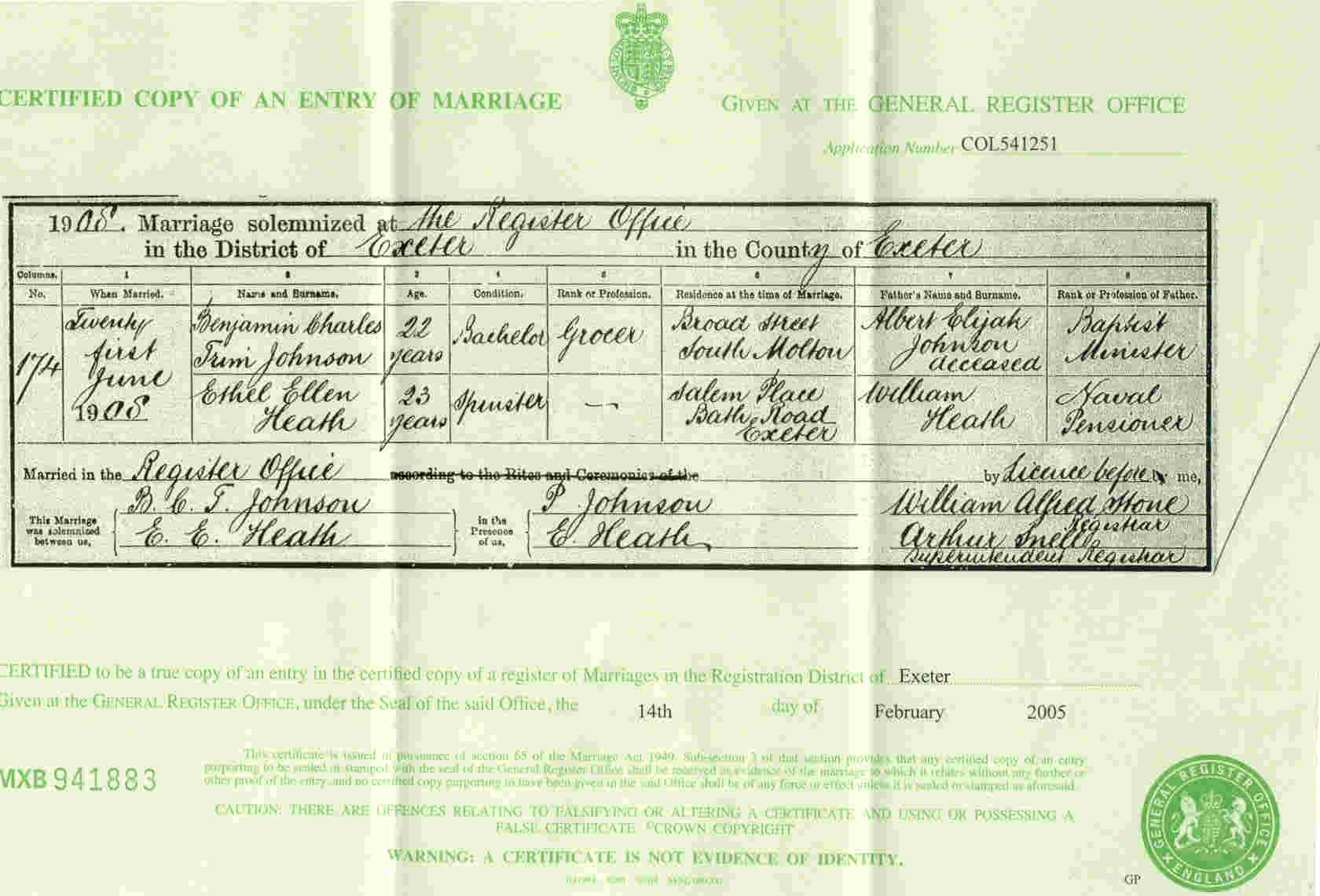 Johnson Heath marriage cert